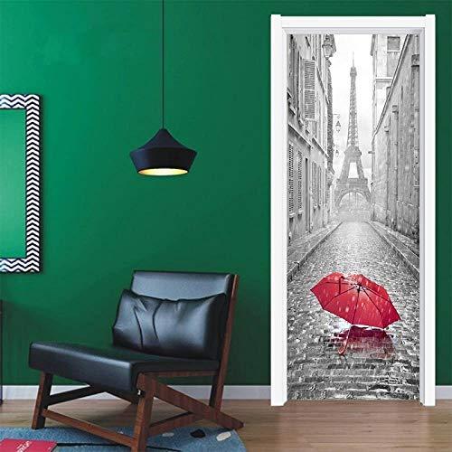 YSJHPC 3D-Türaufkleber-Tür-Wand-Papier-Wandbild, Roter Regenschirm Der Pariser Straßenlandschaft 80*200CM PVC-wasserdichte selbstklebende -Tür-Wand-Tapete-Kunst-dekorative Wand-Abziehbilder für für he