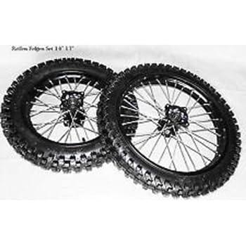 """17/"""" schwarz HMParts Dirt Bike Cross Pit Bike  Alu Felgen SET Eloxiert 14/"""""""