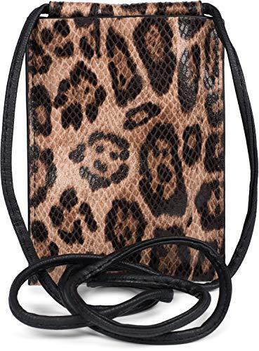 styleBREAKER Damen Handy Umhängetasche mit Leoparden Muster, Schultertasche, Handy-Tragetasche, Mini Bag 02012318, Farbe:Braun-Schwarz