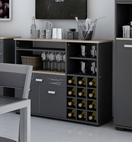 Buffet portabottiglie per cucina, 2 porte e 1 cassetto, grigio grafite, dimensioni: 90 cm