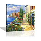 Mediterranean Italian Canvas Picture Painting - European Cityscape Artwork Wall Art for Office (24'' x 18'' x 1 Panel)