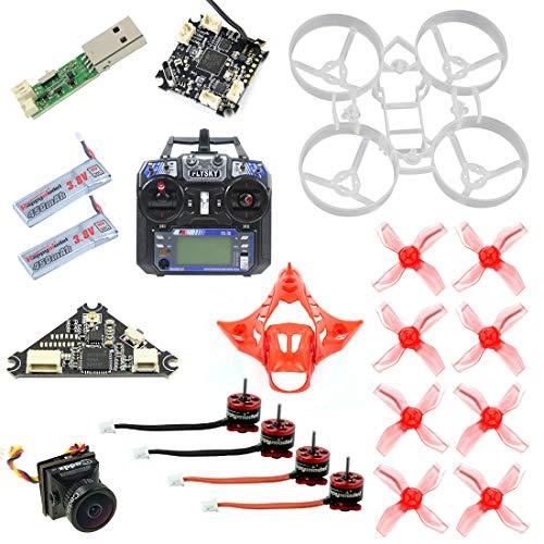 FEICHAO DIY Drone Kit 65MM Brushless Whoop Indoor FPV con F4 Flight Control Cámara SE0603 / SE0802 Motor F4 1.0 / F4 2.0 Personalización de Soporte Opcional (Basic Version with Flysky+RC)