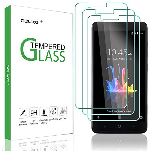 (3-Pack) Beukei for ZTE Blade Z Max Screen Protector Tempered Glass, Anti Scratch, Bubble Free