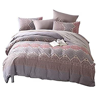 Colourful Snail 100-Percent Natural Washed Cotton Classical Pattern Duvet Cover Set, Antique Boho Bohemian Style, Ultra Soft and Easy Care, Fade Resistant, King