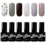 KADS Kit Uñas de Gel Esmalte Semipermanente de Color 6pcs Laca Soak Off Top Coat Base Coat UV LED...