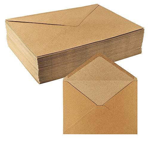 Kraftpapier Umschläge, 100 Stück   hohe Qualität: 110 g/m²   Briefumschläge, Kuvert, Briefkuvert, Briefhülle für Grußkarten, Einladung, Geburtstagskarten (DIN C5   16,2 x 22,9 cm)