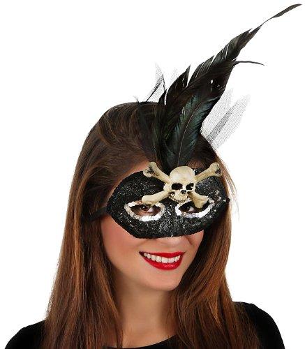 Masque à Plume Noir Halloween - Taille Unique
