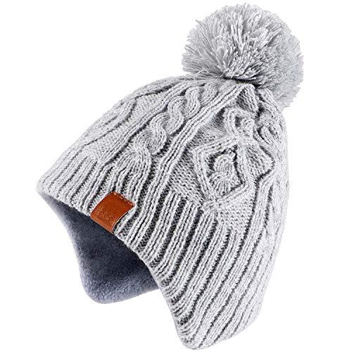 Tacobear Jongen wintermuts wintersjaal gebreide muts beanie oorbeschermer hoed en sjaal voor kinderen meisjes (lichtgrijs hoed, S (1-4 jaar))