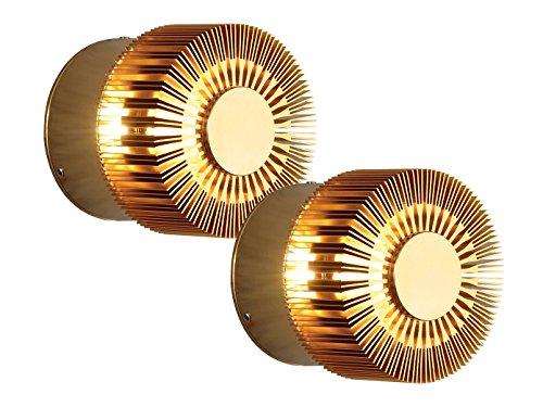 KONSTSMIDE 2-delige set wandlampen MONZA effectieve verlichting, bronskleurig massief aluminium; 7900-800