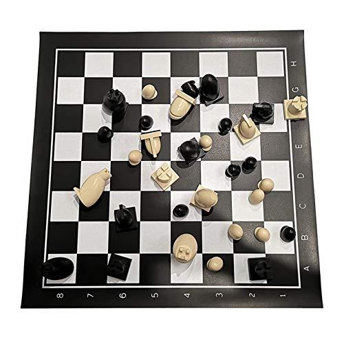 XWW Juego de Piezas de ajedrez de Viaje de plástico portátil con Bolsas de Almacenamiento, Juego de ajedrez Internacional para Fiestas, Actividades Familiares (51 x 51 cm)