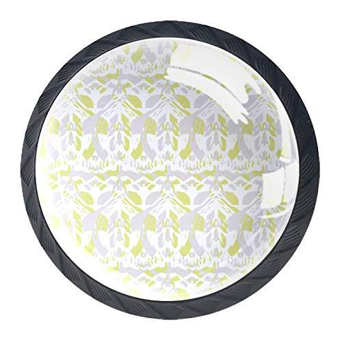 Las manijas del cajón tiran el vidrio de cristal redondo para el hogar, la cocina, el tocador, el armario, el patrón textil sin costuras con lila y amarillo Ele