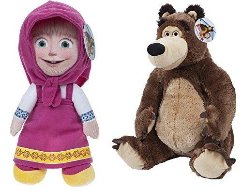 Masha e Orso (Masha and the Bear) - Pack 2 peluches Masha (seduta 30cm/in piedi 42cm) e Orso (seduto 33cm) - Qualità super soft