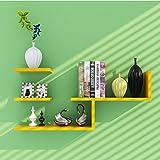 LUYIASI- Modernes einfaches Wohnzimmer-Schlafzimmer-dekoratives Wand-angebrachtes Wand-Regal Shelf (Farbe : Gelb)