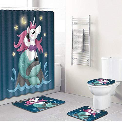 Juego alfombras baño 4 piezas unicornio 50 * 80 cm