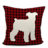 Miniature Schnauzer Red Grid Throw Pillow Case, Dog Lover Gifts, Dog Decor, Gifts Miniature Schnauzer Mom, Gifts Miniature Schnauzer Lady, 18X18 Inch Dog Art Cushion Cover for Sofa Couch Bed
