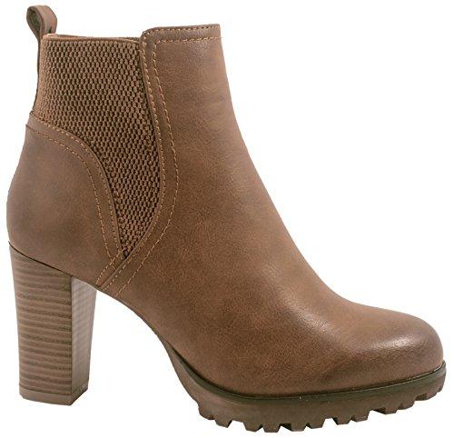 Jumex Damen Stiefeletten Ankle Boots Chunkyrayan P 949-GA-Khaki-38