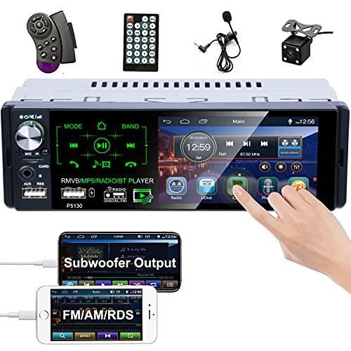 Camecho Stereo Bluetooth Car Radio 4    Touch Screen capacitivo Single Din Autoradio FM   AM   RDS radio con doppia porta USB   AUX-in   scheda SD + Telecamera di backup + Controllo del volante