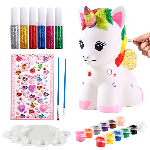 ACEHOOD Arts & Crafts for Kids Unicorn Gift for Girls Paint Your Own Unicorn DIY Craft Paint Art Supplies Unicorn Piggy Bank Coin Bank Unicorn Painting Kit Birthday Gift Craft for Kids Boys Girls