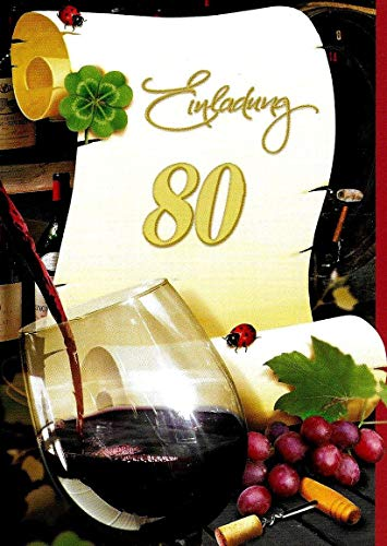 Uitnodigingskaarten 80e verjaardag vrouw man met binnentekst motief rode wijn 10 gevouwen kaarten DIN A6 staand met witte enveloppen in set verjaardagskaarten uitnodiging 80 verjaardag man vrouw K250