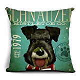 Poens Dream Funda de Coj'n, Retro Vintage Schnauzer Printed Cotton Linen Decorative...