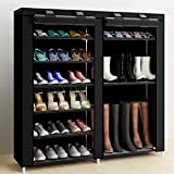 7 Tier Shoe Rack Storage Organizer, Astory Double Row Free Standing Shoe Organizer Portable Boots Rack with Dustproof Nonwoven Fabric Cover and Zipper Fits for 24-27 Pairs, Black