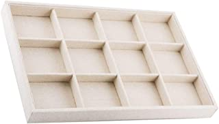 Prettyia Linen Stackable Jewelry Tray Necklace Showcase Ring Display Organizer, Case for Necklace Bracelet Ring Earrings & Trinkets - 13.78 x 9.45 x 1.37inch - Beige, 12 Grids Tray