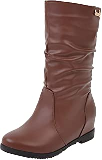Women's Mid Calf Riding Boot Chelsea Fashion Faux Fur Boots Height Increase Heel Bootie