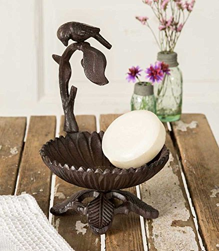 Colonial Tin Works Cast Iron Bird on a Branch Candle Stand/Soap Dish, Brown