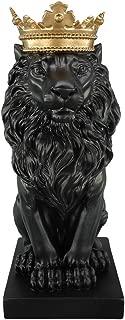 Artgenius 7.3IN Royal King Crown Lion Statue Figurine Decorations (Black)