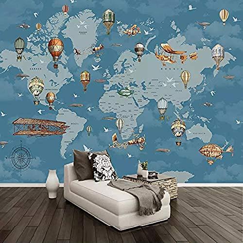 Cartoni animati Mongolfiera Mappa Serie creativa Personalizza 4D Carta da parati Tv Sfondo Decorazione murale Art H Carta Da Parati panno camera da letto moderna 3D Fotomurali Soggiorno-300cm×210cm