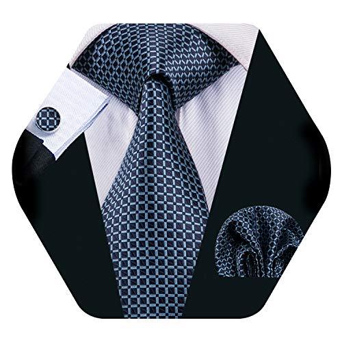 Barry.Wang Schottenkaro Krawatte Einstecktuch Manschettenknöpfe quadratisch Seide gewebt kariert Hochzeit formell Gr. Einheitsgröße, marineblau