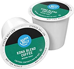 100 Kona Coffee Blend coffee k cup pods, packaging may vary Happy Belly coffee pods are filled with coffee carefully sourced from select farms worldwide so each cup tastes uniquely delicious. Settle in with the warming aroma and smooth flavors of del...
