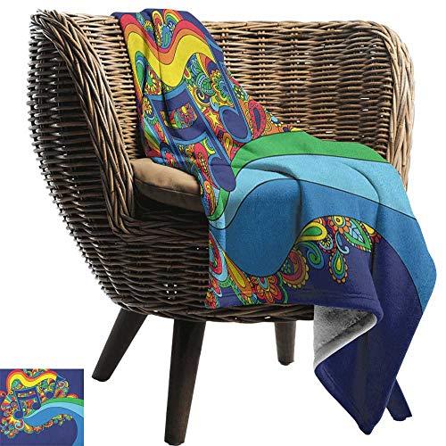 ZSUO deken Muziek, Kleurrijke Muziekinstrumenten Toetsenbord Gitaar Banjo Trompet Cello en Vliegende Vogels Multi kleuren Gezellige en Duurzame Stof-Machine Wasbaar