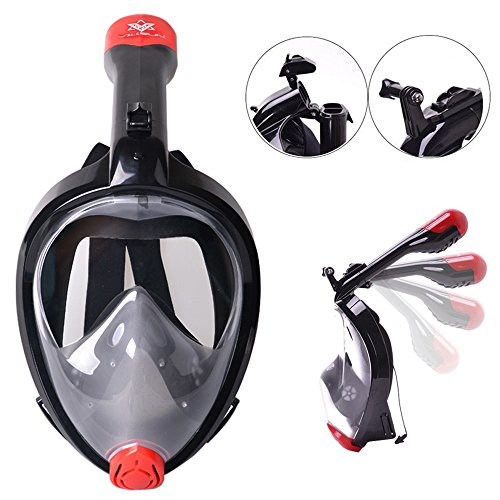 VILISUN Tauchmaske Vollgesichtsmaske, Easybreath Taucherbrille, Schnorchelmaske Anti-Fog und Anti-Leck-Technologie mit 180 Grad Blickfeld für alle Erwachsene und Kinder (V-Schwarz(klappbar), L/XL)