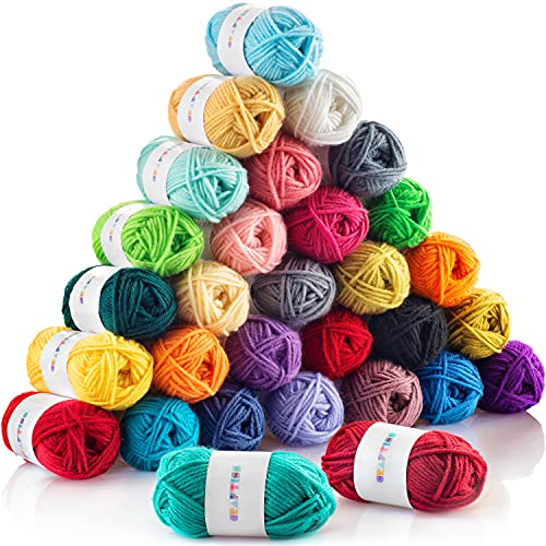 CRAFTISS 30x20g Acrylic Yarn Skeins - 1300 Yards of Soft Yarn for Crocheting and Knitting Craft...