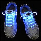 ZYQ Bleu LED Light Up Lacets 80cm Glow Lacets LED Sport Chaussures Lacets Lueur Baton Clignotant Neon Lumineux Lacets 1 Paire