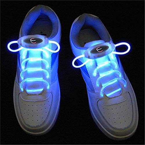 Zhaolan-Home Decoration Heimtextilien 1 Paar 80cm Glow Shoelaces Sport Schnürsenkel Glow Stick Flashing Neon Luminous Laces Blau Wohnaccessoires (Color : Blue)