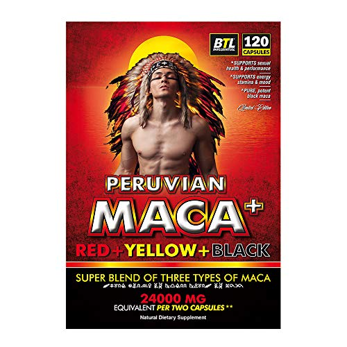 Organic Maca Root Extract Red Yellow Black 24 000mg Equivalent in 2 Capsules with Black Pepper Ginko Biloba and L-Arginine-Alpha-Ketoglutarate