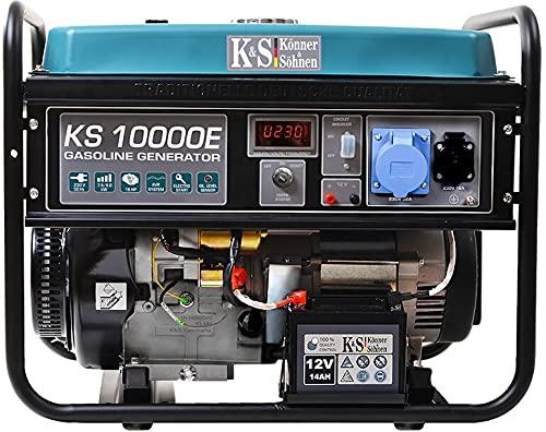 Générateur à essence KS 10000E, puissance maximale 8000W, generateur de courant, prises 1x16A, 1x32A (230V), moteur EURO-V, régulateur de tension automatique (AVR) power station