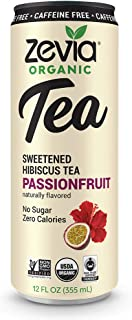 Zevia Organic Caffeine Free Hibiscus Tea Passionfruit, 12 Count, Sugar-Free Brewed Iced Tea Beverage, Naturally Sweetened with Stevia, Zero Calories, No Artificial Sweeteners