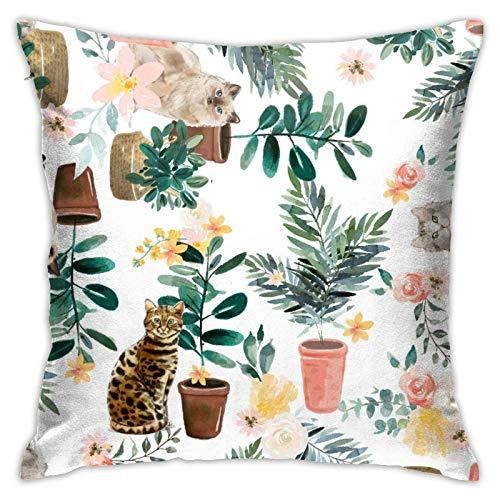 Xiangyang Cojines,Cushion sofaFunda de Almohada Cuadrada Cats & Plants, Moderna Funda de Almohada Decorativa, Adecuada para Decorar sofá, 45X45cm