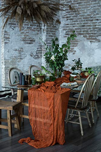 DekorFentezyKiev Table Runner 25x170 inches Cheesecloth Tablecloth for Romantic Wedding Rustic Boho Style Natural Elegant Gauze Decor (Terracotta)