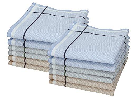 Betz 12 Stück Herren Stoff Taschentücher Set Leo 5 100% Baumwolle Größe 40x40 cm Farbe Dessin 2