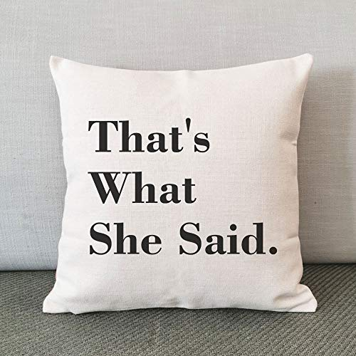 The Office TV Show, Pillow Cover, That's What She Said, Pillow Case, Linen Cotton Pillow Cover, Michael Scott Quote, Cushion Cover, Best Friend Gift, 18x18 inch No Insert