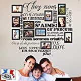 Sticker Chez Nous On S'aime en photos - 11 cadres photos pour photos de 10x15 cm- Taille du sticker 100x90 cm - Noir - marque Beestick