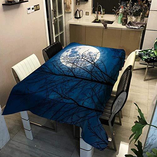 GHGD Mantel Rectangular con Estampado De Planeta De Noche De Luna De 140X140 Cm, Mantel Azul Marino con Estampado Cuadrado, Textil para El Hogar, Hogar, Jardín, Cocina, Decoración