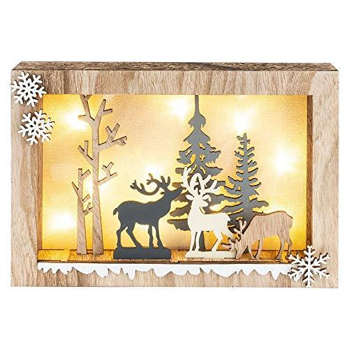 3-D LED-Holzbox | 10-teilig | DIY Weihnachts-Deko aus Holz | Waldszene | inkl. 10 LED-Lämpchen in Warmweiß | 20 x 29,9 x 4 cm | Leucht-Deko für Weihnachten | Zum Basteln & Bemalen