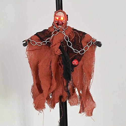Marks Puntales de Halloween decoración de la barra persona en su totalidad horror fantasma colgante eléctrico de control por voz cadena del hierro de Pequeño fantasma que Negro Sonido Luminoso