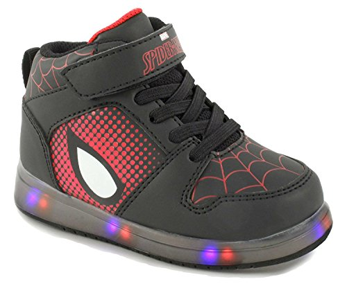 Marvel Ultimate Spiderman Boys Light Up Hi Top Athletic Shoe