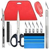Ewrap - Kit per carta da parati, 8 pezzi, per carta da contatto, pellicola adesiva in vinile, con spatola per levigare, strumenti di taglio